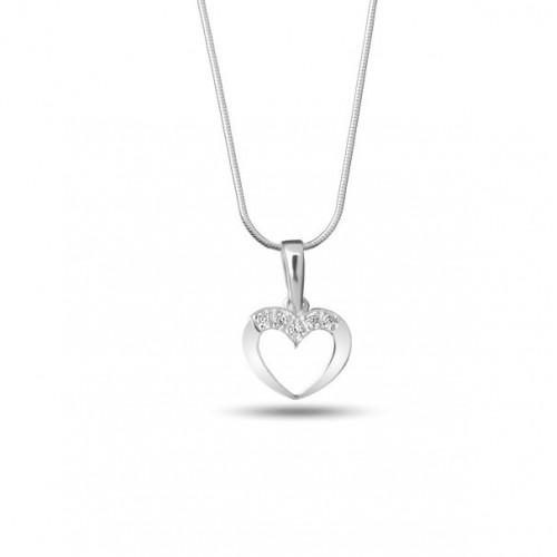 Дамско сребърно колие сърце с ...