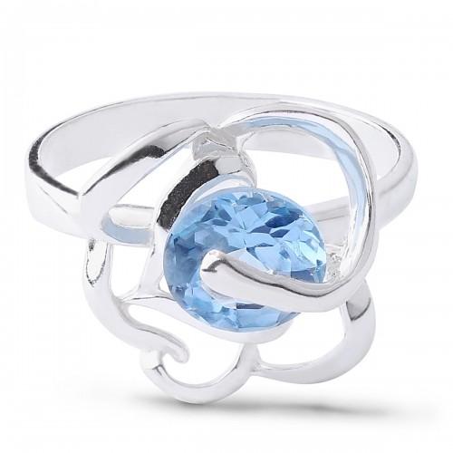 Дамски сребърен пръстен Роза Синя 1468