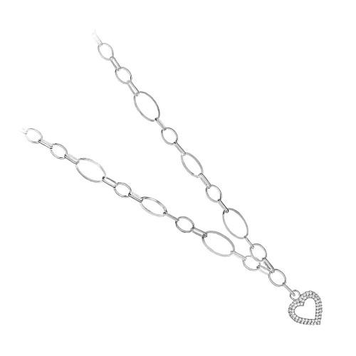 Дамско сребърно колие с висящо сърце и бели камъни Амор 4069