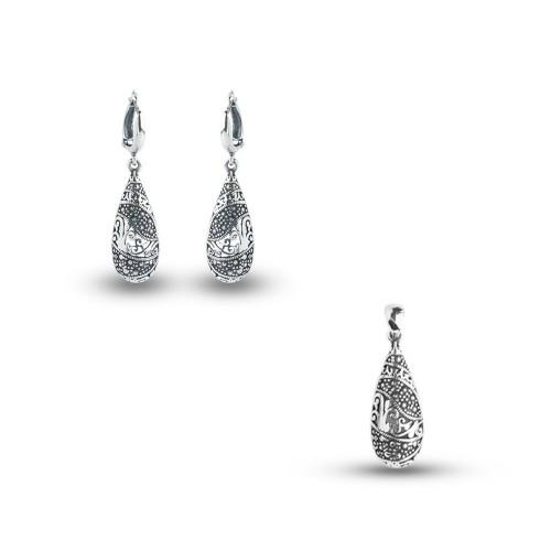 Дамски сребърен комплект Калинихта тъмно сребро 2138