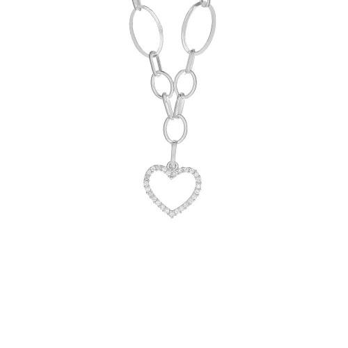 Дамско сребърно колие с бели камъни Сърце 4040