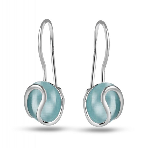 Дамски сребърни обеци с камък светло синьо котешко око 4499