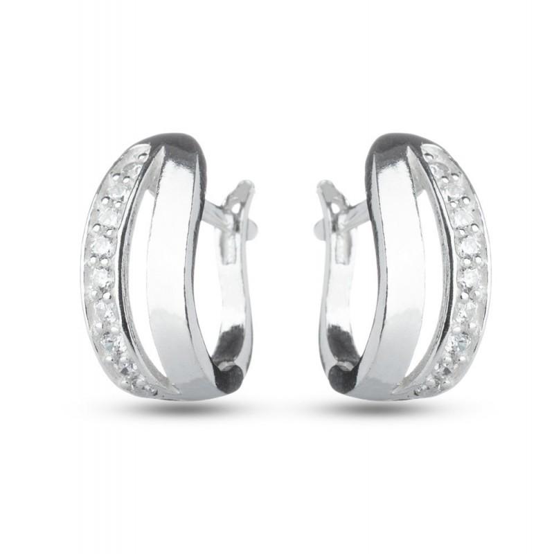 Дамски сребърни обеци с бели камъни 2919