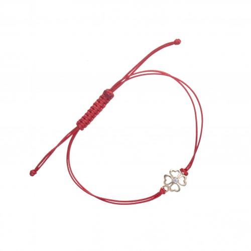 Златна регулираща се гривна с червен конец и детелина с камък 3104