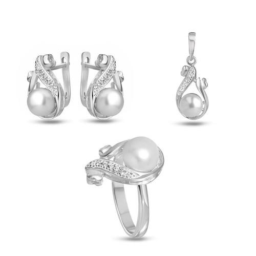 Дамски сребърен комплект с бели циркони и перли 3331