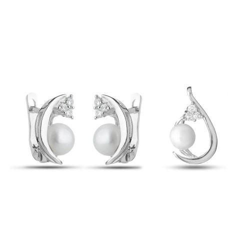 Дамски сребърен комплект с бели камъни и перли обеци медальон 3412