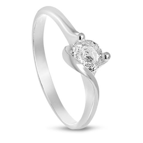 Дамски сребърен пръстен с бял камък 3420