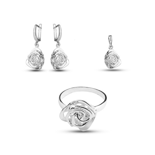 Дамски сребърен комплект Роза Нео с бели камъни 3526