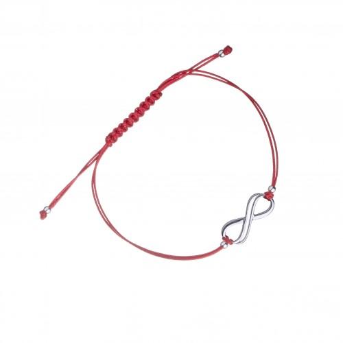 Дамска сребърна гривна червен конец безкрайност 3934