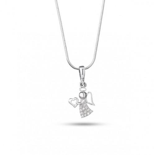 Дамско сребърно колие с ангел с бели камъни 4078