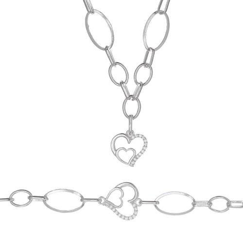 Дамски сребърен комплект Взаимна Любов колие гривна 4131