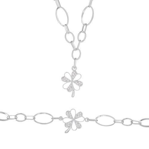Дамски сребърен комплект Детелина колие гривна 4217