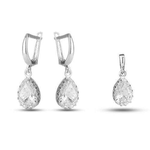 Сребърен дамски комплект с бели камъни 4237