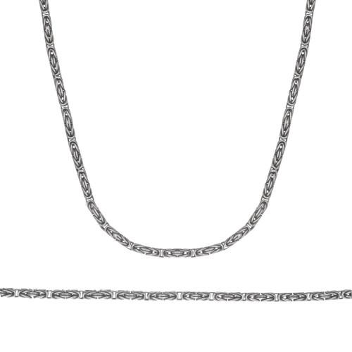 Сребърен комплект верижка гривна кралска плетка тъмно сребро 4265