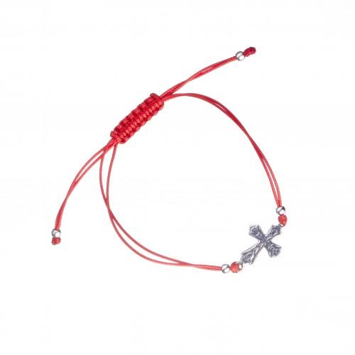 Сребърна регулираща се гривна с червен конец и кръст 4341