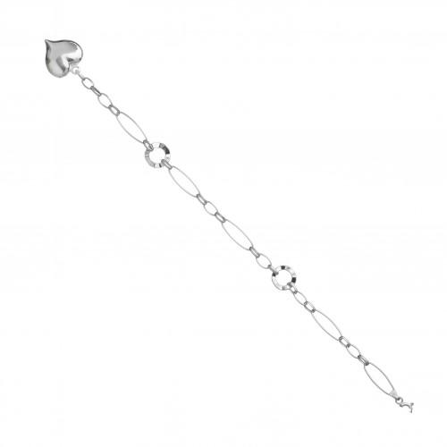 Дамска сребърна гривна с висящо сърце 3710