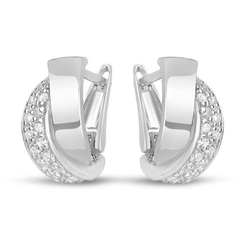 Дамски сребърни обеци с бели камъни и английско закопчаване 4428