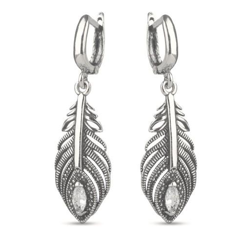 Дамски сребърни обеци Пера тъмно сребро 4491