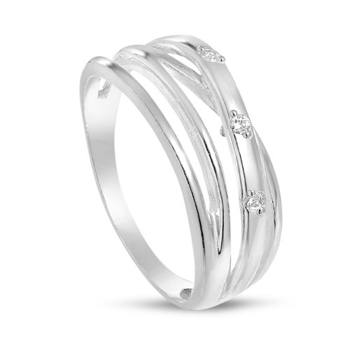 Дамски сребърен пръстен с бели камъни 4566
