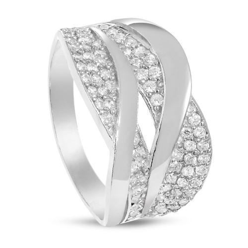 Дамски сребърен пръстен с бели камъни 4572