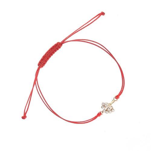 Златна регулираща се гривна с червен конец Дървото на Живота 4607