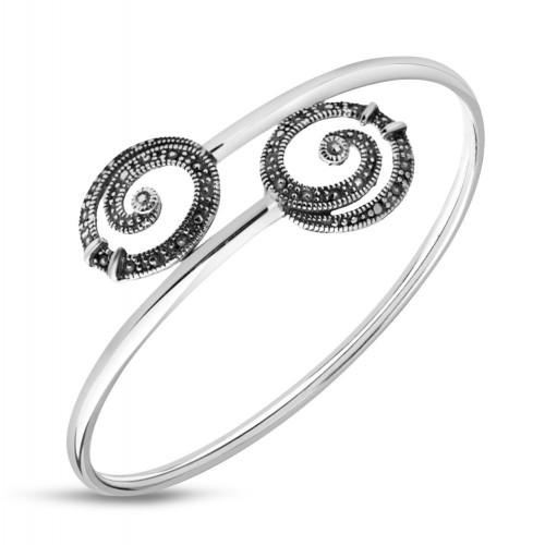 Сребърна дамска твърда гривна тъмно сребро 4866