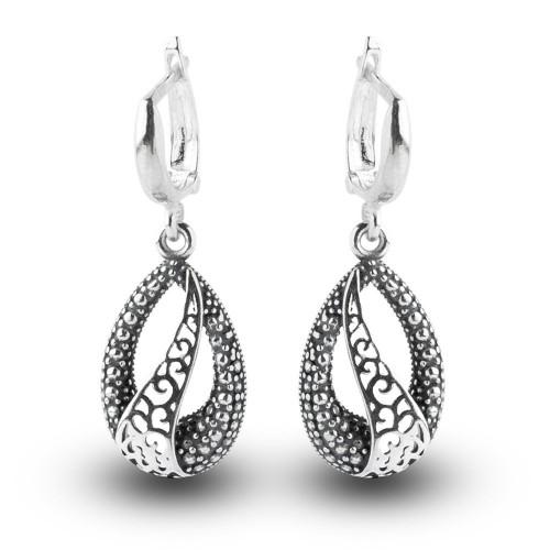 Дамски сребърни обеци тъмно сребро 4932