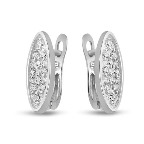 Дамски сребърни обеци с бели циркони 2848