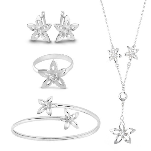 Дамски сребърен комплект Кристална Прелест 4096