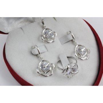 Дамски сребърен комплект Роза Бланка 1014