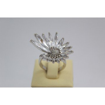 РАЗПРОДАЖБА -30% Дамски сребърен пръстен - Кристално Цвете 105