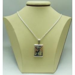Сребърен квадратен медальон за снимка