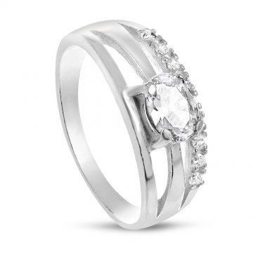 Дамски сребърен пръстен с бели камъни 1145