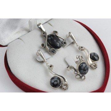 Дамски сребърен комплект със снежинков оксидиан 1158