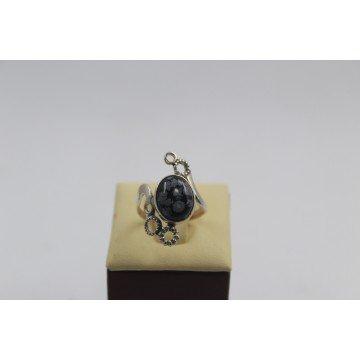 Дамски сребърен пръстен със снежинков оксидиан