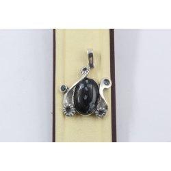 Дамски сребърен медальон със снежинков оксидиан 1160