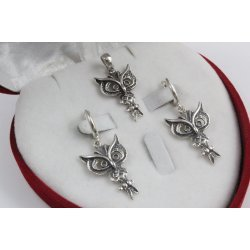Дамски сребърен комплект Сова тъмно сребро 1226