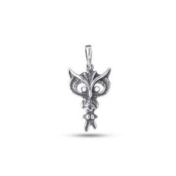 Дамски сребърен медальон Сова тъмно сребро 1227