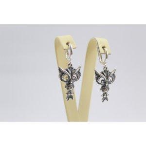 Дамски сребърни обеци - Сова 1228