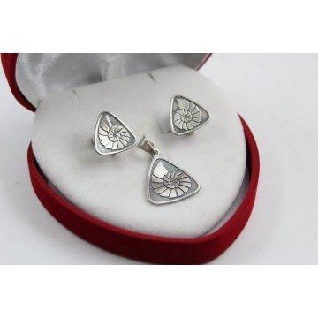 Дамски сребърен комплект тъмно сребро 1418