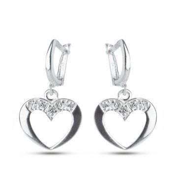 Дамски сребърни обеци сърца с бели камъни 2252