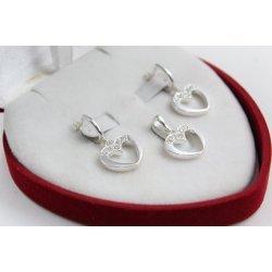 Дамски сребърен комплект с бели камъни обеци медальон 1418