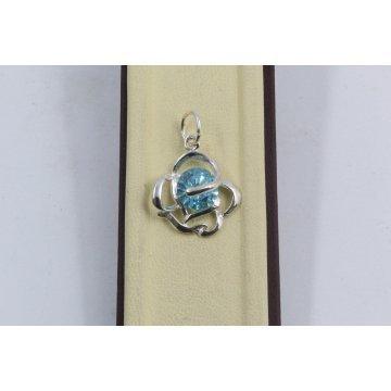 Дамски сребърен медальон Роза Аквамарин 1467