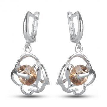 Дамски сребърни обици Роза Шампанско 1540