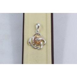 Дамски сребърен медальон Роза Шампанско 1541
