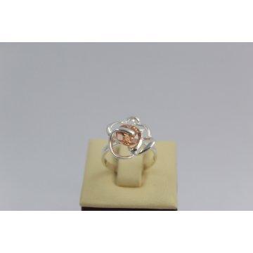 Дамски сребърен пръстен Роза Шампанско 1542