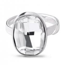Дамски сребърен пръстен с бял кристал Swarovski 3006