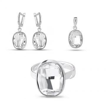 Дамски сребърен комплект Кристали Swarovski 1557