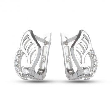 Дамски сребърни обици с бели камъни 158