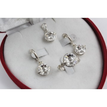 Дамски сребърен комплект с кристали Swarovski 1610
